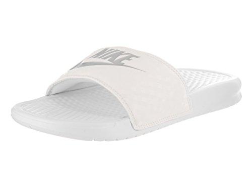 Nike Women's Benassi JDI White/Metallic Silver Sandal 8 W...