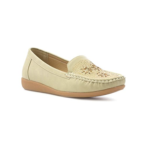 Soft-Lites Womens Beige Casual Loafer With Diamante Beige 3gbau