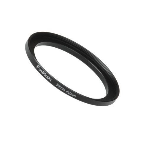 Fotodiox Metal Step Up Ring Filter Adapter, Anodized Black Aluminum 55mm-62mm, 55-62 mm