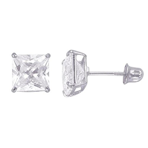 (14kt Solid White Gold Superbright Clear Cz Basket Setting Square Screwback Stud Earrings (5mm))