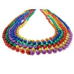 Round Beads Rainbow Sectional Necklace – 33-Inch Strands – 7mm Beads – Pride Parades and Events, Mardi Gras – 60 Dozen -