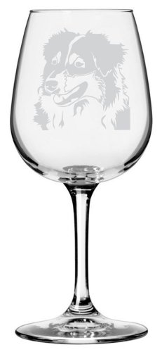 Australian Shepherd Dog Themed Etched All Purpose 12.75oz Libbey Wine Glass ()