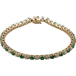 Set-14K Yellow Emerald & 2 1/3 CTW Diamond Bracelet