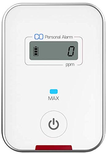 Travel CO DETECTOR by FORENSICS | Carbon Monoxide Low-Level 9ppm Alarm | Super Small Size & Stylish | iPhone White Color | Easy One-button operation | (Best Low Level Carbon Monoxide Detector)