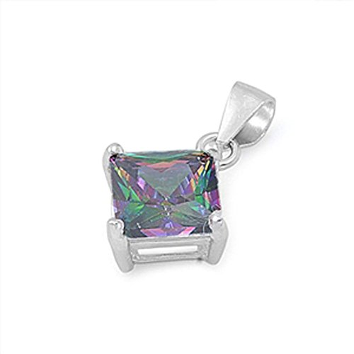 Solitaire Square Pendant Rainbow Simulated Topaz .925 Sterling Silver Charm - Silver Jewelry Accessories Key Chain Bracelet Necklace Pendants