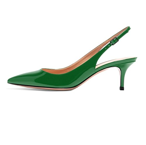 Sammitop Women's Closed Toe Mid-Heels Patent Pumps Elegant Slingback Dress Shoes Green US11