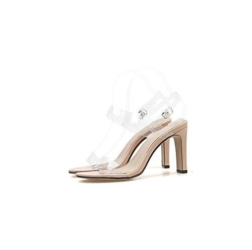 Zapatos Bomba Verano Ghfjdo Abiertos Talón Tobillo Clear Stiletto Transparente Sandalias Puntera Correa Damas Block Mujer qRpHfw