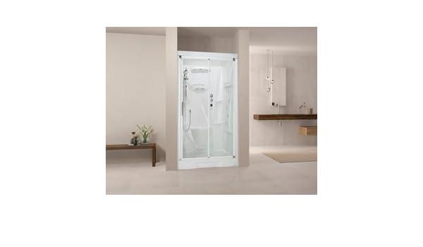 Cabina de ducha integral New Holiday bi120 X 80 cm grifo termostático y cristal transparente antical con puerta deslizante Reversible: Amazon.es: Bricolaje y herramientas
