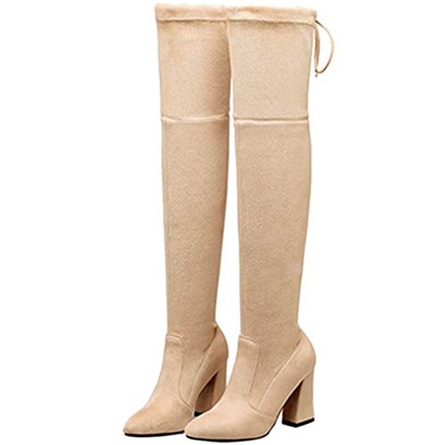 Women the Apricot Over Fashion knee Casual Sjjh Boots 1wx4Txq
