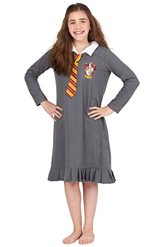 INTIMO Harry Potter Hermione Granger Gryffindor Halloween Costume Uniform Tie Pajama Gown, Gray, 14/16
