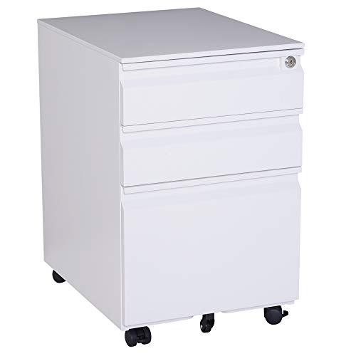 """HOMCOM 24"""" Steel 3 Drawer Locking File Cabinet on Wheels for sale  Delivered anywhere in USA"""