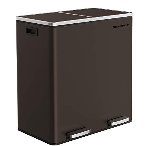 SONGMICS Trash Garbage Can, 16 Gal (60L) Rubbish, Metal Step Bin, with Dual Compartments, Plastic Inner Buckets and Hinged Lids, Handles, Soft Closure, Airtight, Brown