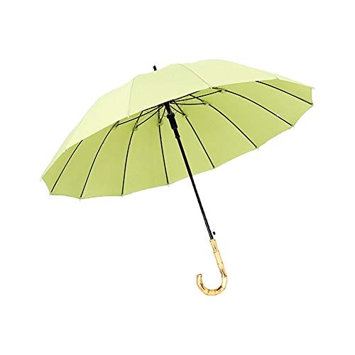 Auto Open Walking Stick Umbrella Large Windproof Travel Anti-UV Sun Rain Umbrella Golf Umbrella with Bamboo Handle for Men Women ()
