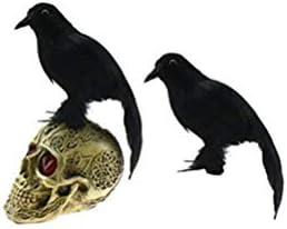 Amosfun Cuervos realistas de Halloween Negro con Plumas Cuervo ...