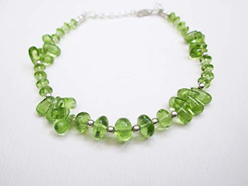 (Natural Green Peridot Beads Bracelet with 925 Silver beads & clasp 6.50