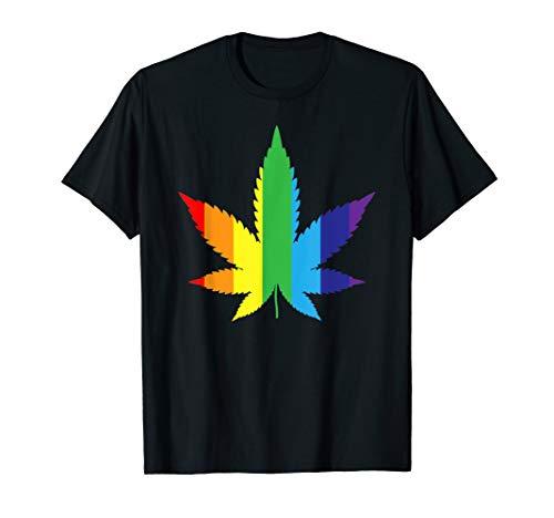Marijuana Rainbow Gay Flag Weed Leaf T-shirt-Gay Pride ()