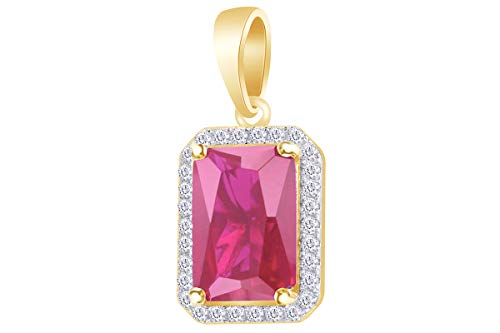(4 Carat (Ctw) Round White Natural Diamond & Simulated Ruby Hip Hop Emerald Frame Pendant Sterling)