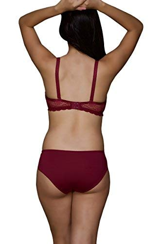 518277f3b2 Seduct Opel Ruby Wine Ultra Sexy Padded Underwired Bra with Hipster Brief   Amazon.in  Clothing   Accessories