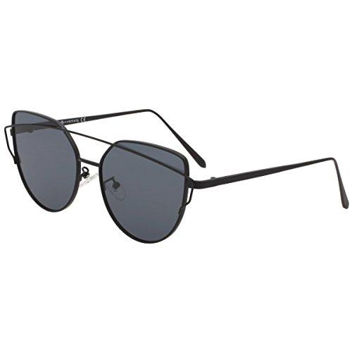 VIVIENFANG Street Fashion Mirrored Cateye Sunglasses Metal Frame Oversized Polarized Shades 86798D Black