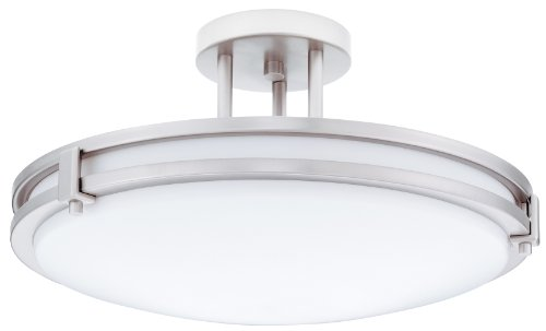 Lithonia Lighting 11752 BN M4 Saturn Round 2-Light Energy Star 16-Inch Semi Flush Light, Brushed Nickel ()