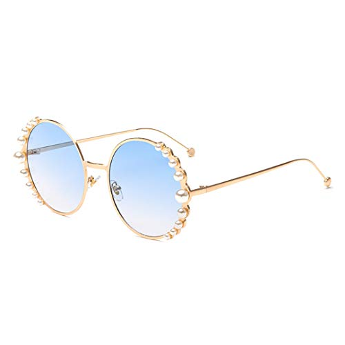 (Naimo Fashion Round Pearl Decor Sunglasses UV Protection Metal Frame)