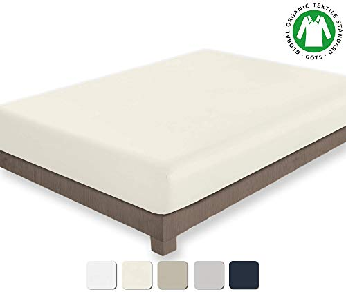 BIOWEAVES 100% Organic Cotton 1 Fitted Sheet Only, 300 Thread Count Soft Sateen Weave GOTS Certified with deep Pockets (Full, Natural)