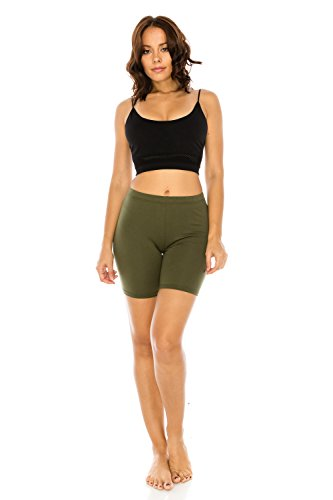 (The Classic Women's Stretch Cotton Jersey Bike Shorts in Olive -)