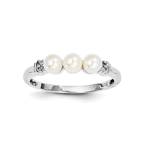 ICE CARATS 925 Sterling Silver Diamond Freshwater Cultured Pearl Band Ring Size 8.00 Fine Jewelry Ideal Gifts For Women Gift Set From Heart -