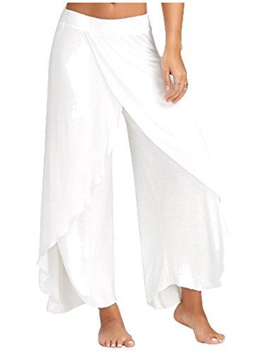 Coolred Womens Pure Color Comfy Plus Size Palazzo Wide Leg Pants White (Wide Leg Linen Blend Pants)