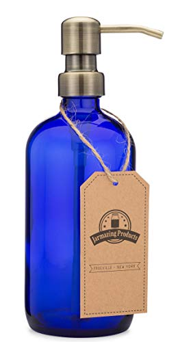 Jarmazing Products Cobalt Blue Glass Pint Jar Soap and Lotion Dispenser with Metal Pump (Brass) (Cobalt Bathroom Blue)