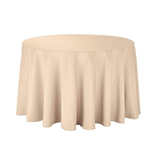 SilkLove Tablecloth - 108 Inch Dia -Beige-Round Polyester Table Cloth, Wrinkle,Stain Resistant - Great for Buffet Table, Parties, Holiday Dinner & More Dia Round Banquet Table