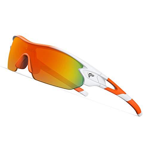 TOREGE Tr90 Flexible Kids Sports Sunglasses Polarized Glasses for Junior Boys Girls Age 3-12 TR04 (Orange&Orange&Orange REVO ()
