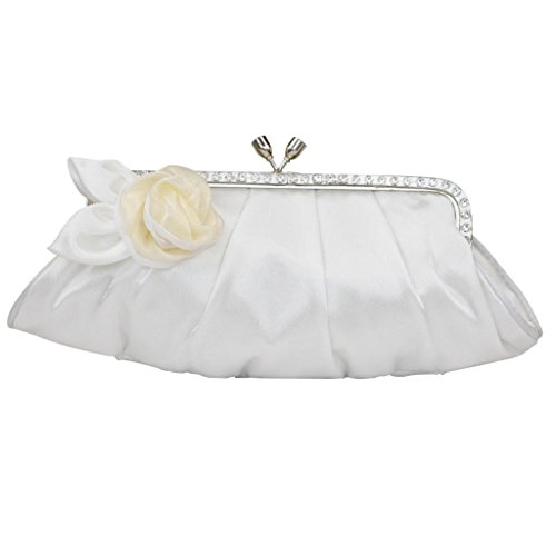 Colory Women's Silk Floral Jeweled Evening Bridal Handbag Clutch Off White