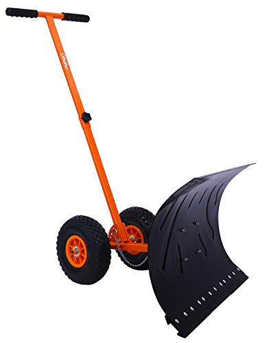 Ohuhu Snow Shovel for Driveway, Heavy Duty Metal Snow Shovel with Wheels, Adjustable Rolling Snow Plow Snow Shovels for Snow Removal, Efficient Snow Pusher with Large Blade Plow for Doorway Driveway
