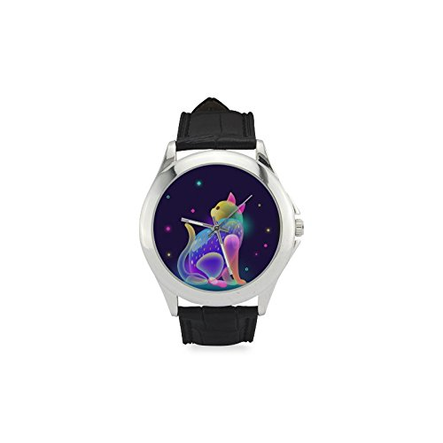 Colorido Dreamy lindo gato mujer correa de cuero reloj de moda tendencia muñeca cómodo relojes