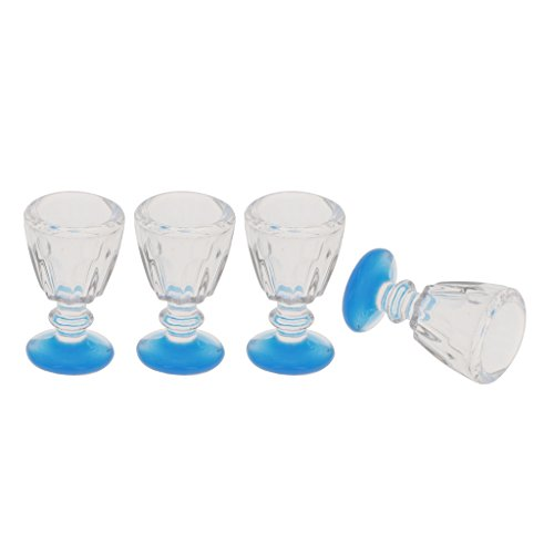 Dovewill 4 Pieces Plastic Miniature Wine Goblet Water Mug 1:12 Scale Dollhouse Kitchenware Accessories (Goblets Water Plastic)