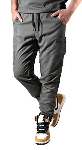 (Krafted Cut Chance 10-Pocket Tapered Slim Fit Premium Cargo Scrub Pants (X-Large, Gunmetal Olive))