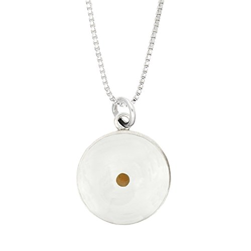 LGU(TM) Sterling Silver Polymer Resin Amulet of Faith Mustard Seed Pendant with Box Chain Necklace (Mustard Seed Ring)