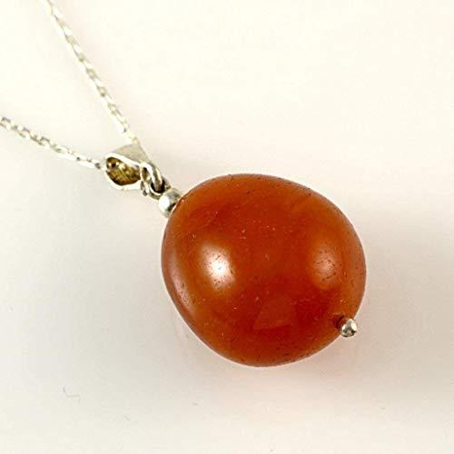 Women's Natural Oval Orange Carnelian 0.31oz Sacral Chakra Healing Silver Bail Pendant 17''(43cm) ()