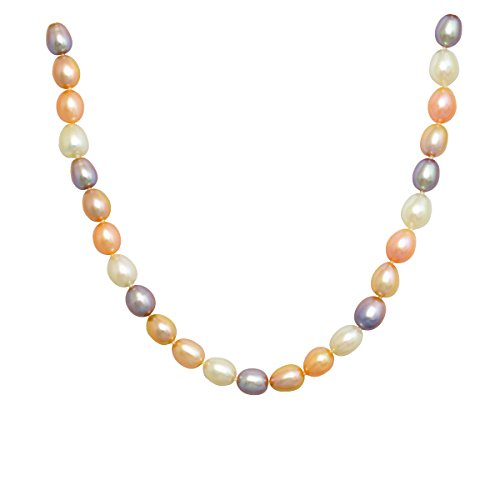 Lumin Plus LLC Multicolored Cultured Rice Pearl Necklace with Ball Sterling Silver Clasp(8.5-9mm),18'' by Lumin Plus LLC