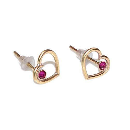 Small Heart 2mm Ruby Stud Earrings Gold/Simple Post Earrings, Ruby Earring ()