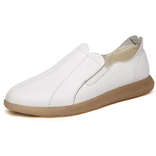 Negro Conducción Beige 34 Para Casual De Cubierta Yan Blanco zapatillas Slip Calzado Nuevo Cuero white 2019 Caminar Y Zapatos Mocasines Bajos Mujer ons xUwwTHB