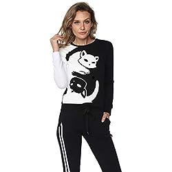 Aditivo Sudadera de Mujer Bicolor con diseño de Gatos, cómoda y Caliente. (M)