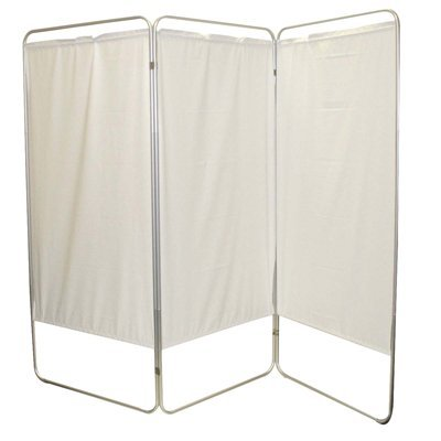 King size 4-Panel Privacy Screen - White 6 mil vinyl, 113'' W x 68'' H extended, 31'' W x 68'' H x3.25'' D folded
