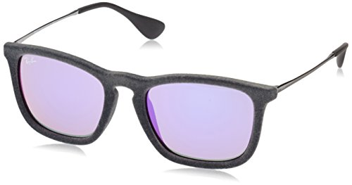 Ray-Ban CHRIS - FLOCK GREY Frame GREY MIRROR VIOLET Lenses 54mm - Mirror Sunglasses Finish Prescription