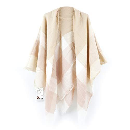 (Women's Cozy Tartan Blanket Scarf Wrap Shawl Neck Stole Warm Plaid Checked Pashmina (Cream Color White))