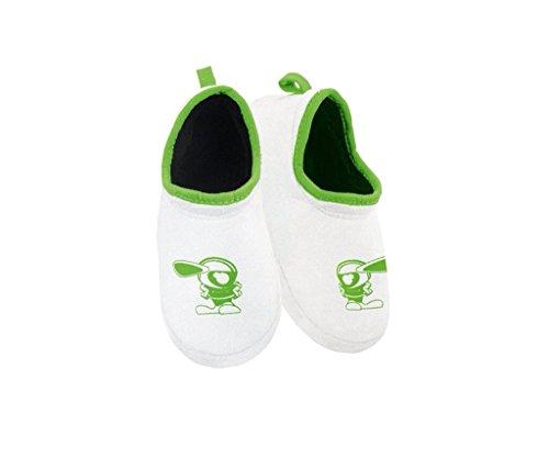 Kawasaki Hausschuhe Kinder Hausschuhe Schlüfpantoffeln ! STOPPERSOHLE ! weiß grün Gr.27-28 von BikerWorld