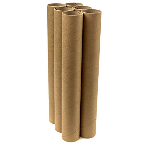 Shipping Tubes for Storage Mailing Poster Tubes and Protecting Your Art 6 Pack with White Caps Posters /& Prints Document Tubes 2 x 18 Cardboard Mailing Tubes Drawings