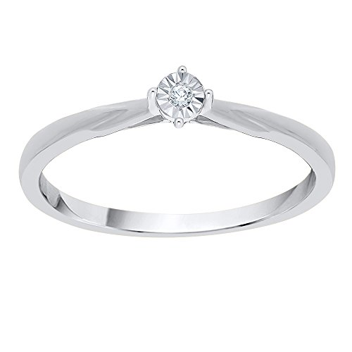 Diamond Accent Promise Ring in Sterling Silver (I-Color, SI3-I1 Clarity) (Size-5.5) by KATARINA