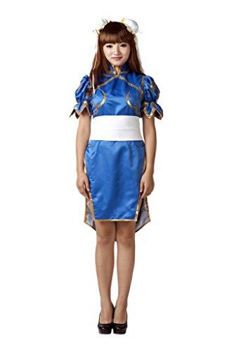 [Mtxc Women's Street Fighter Cosplay Cheong sam Chun Li 1st Ver Kid Size Large Blue] (Street Fighter Kid Costume)